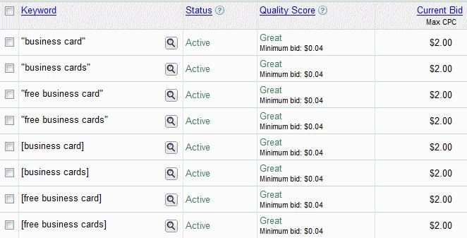 google adwords great quality score